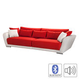 Bigsofa Emmerson - Kunstleder Weiß/Webstoff Orange - Mit Bluetooth Soundsystem,