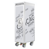 Flugzeugtrolley Airport Cities light grey - Innenausstattung: 7 Schubladen Holz,