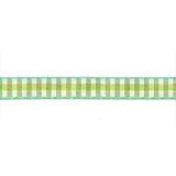 Ribbon On Board - Design Check Green - Baumwolle/Polyester - Grün mit Muster,