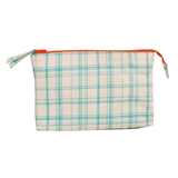 Wash Bag - Design Check Aqua - PVC - Gewürfelt in Blau/Weiss,
