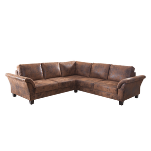 Ecksofa Morgan - Antiklederlook Braun,