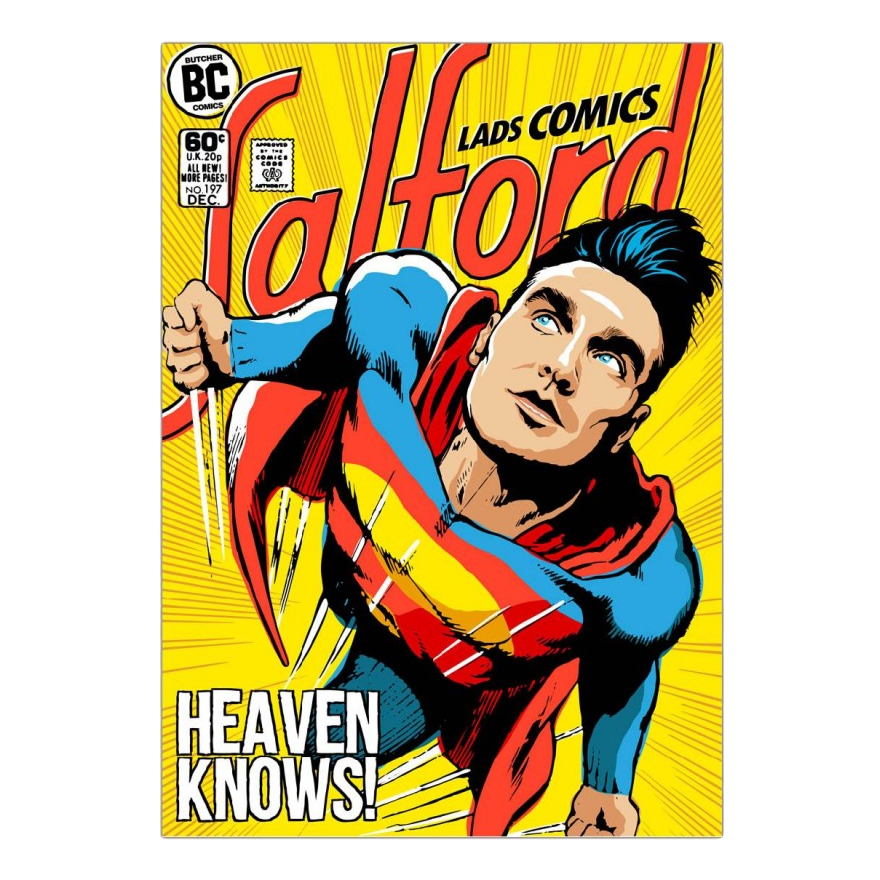 Acrylglasbild Post-Punk Comix- Super Moz - Heaven Knows von Butcher Billy - Größe: A4 (30 x 21 cm),