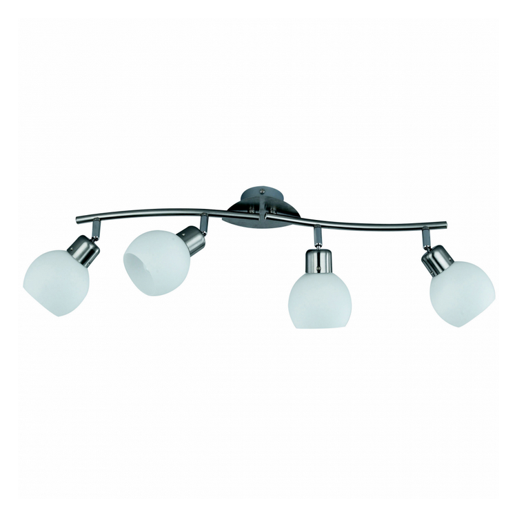 EEK A++, Reality-Trio Deckenlampe - Glas/Metall - Weiß/Nickel Matt,