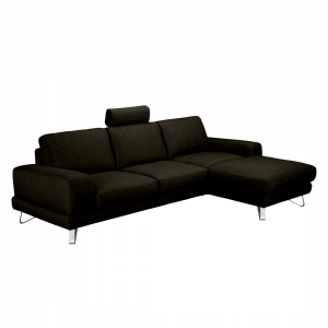 ecksofa bradley webstoff braun schwarz longchair davorstehend rechts ohne kopfst tze. Black Bedroom Furniture Sets. Home Design Ideas